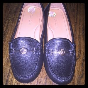 Black Coach Crosby driver loafers with gold buckle
